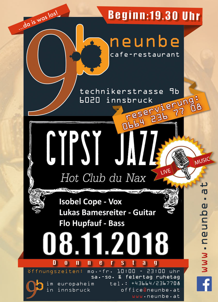 LIVE MUSIK Donnerstag 8.November GYPSY JAZZ